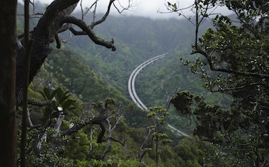 image of the H3 Freeway from the mountains