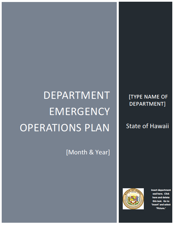 "emergency operations plan As a ""road-map"" documenting how psu would respond, the emergency operations plan (eop) is intended to help minimize impacts of emergencies and disasters by outlining an enterprise level management and coordination structure and accompanying responsibilities and procedures."