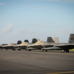The Hawaii Air National Guard F-22 Raptors prepare for take off at Joint Base Pearl Harbor-Hickam, Sept. 26, 2015.  In 2010, the 199th Fighter Squadron converted to the F-22 from the F-15 Eagle and began flying the Raptors in partnership with the 19th Fighter Squadron.  The Hawaiian Raptors are deploying to the CENTCOM area of responsibility. This is the first combat deployment for the 199th Fighter Squadron since it deployed to Saudi Arabia in 2000 to patrol the southern no-fly zone of Iraq. (U.S. Air National Guard photo by Airman 1st Class Robert Cabuco/released)