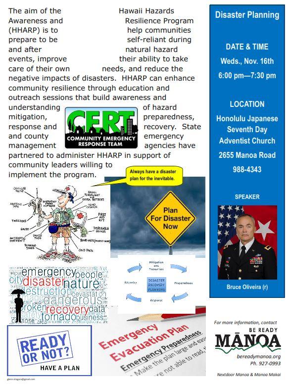 Hawaii Emergency Management Agency | Get Ready Manoa ...