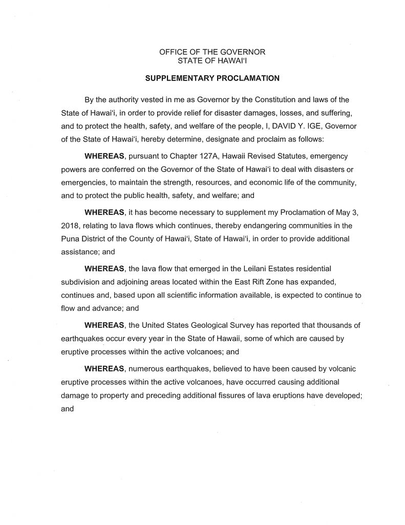 Supplementary Proclamation on Puna District lava flows post thumbnail