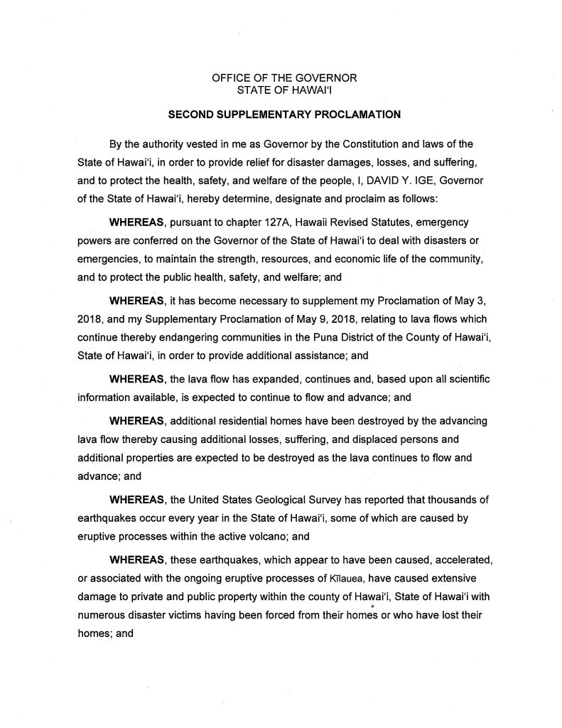 Second Supplemental Emergency Proclamation for County of Hawaii post thumbnail