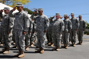 The 29th Infantry Brigade Combat Team soldiers salute the Pohaku, or sacred rocks bearing the names of all the soldiers the brigade has lost since its first deployment, during the brigade's annual Memorial Day ceremony at the brigade's headquarters in Kapolei, Hawaii, May 3, 2015. (DOD photo by Pfc. Paul Berzinas/Released)